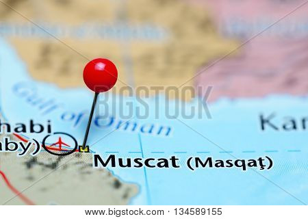 Muscat pinned on a map of Oman