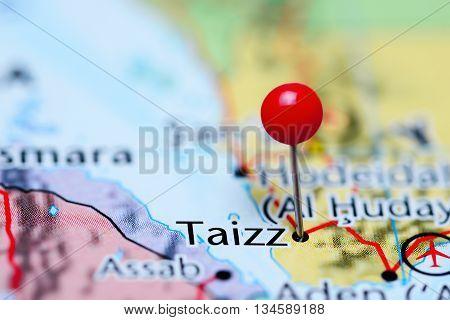 Taizz pinned on a map of Yemen