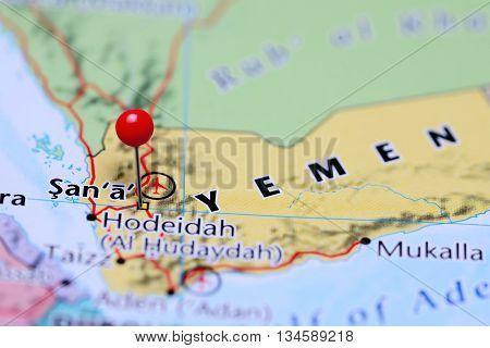 Sana pinned on a map of Yemen