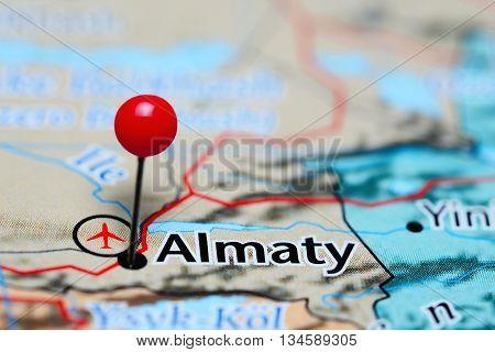 Almaty pinned on a map of Kazakhstan