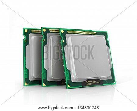 Processor. Computer processor with blank space. Hardware. 3d illustration