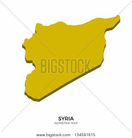 Isometric map of Syria detailed vector illustration. Isolated 3D isometric country concept for infographic