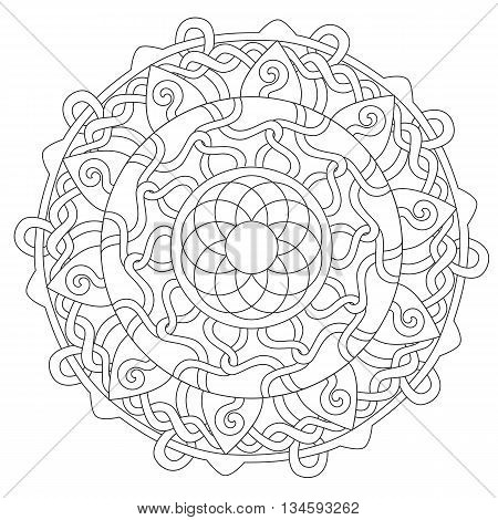 Vector coloring interweaving decoration mandala round ornament