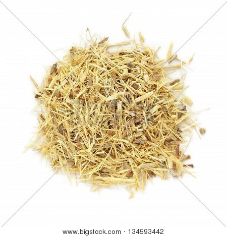 Organic dry Liquorice or Mulethi (Glycyrrhiza glabra) tea cut roots isolated on white background. Macro close up. Top view.