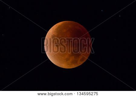 Super red bloodmoon with in dark sky