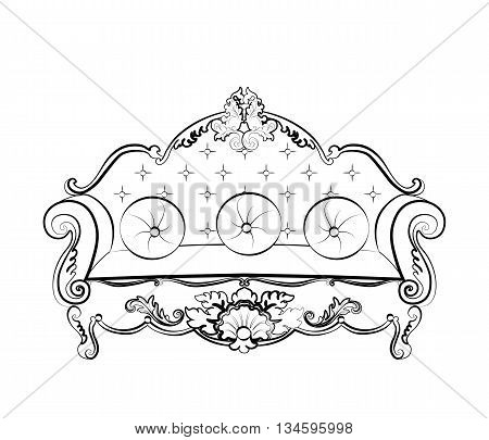 Imperial Royal Sofa with classic rococo damask ornaments. Vector