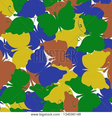 Butterfly colored seamless pattern. Yellow, green, blue, brown butterfly. Nature seamless background. Vector illustration. Used for cards, invitations, fabrics wallpapers wrapping scrap-booking