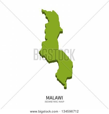 Isometric map of Malawi detailed vector illustration. Isolated 3D isometric country concept for infographic