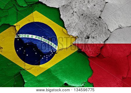 Flags Of Brazil And Poland Painted On Cracked Wall