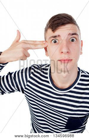 Funny guy grimacing with his face isolated on white background
