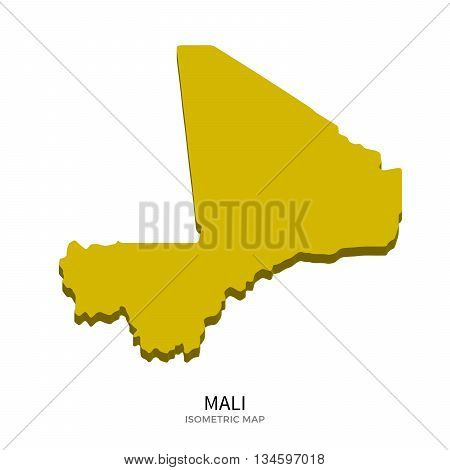 Isometric map of Mali detailed vector illustration. Isolated 3D isometric country concept for infographic