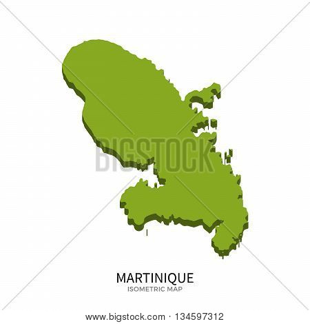 Isometric map of Martinique detailed vector illustration. Isolated 3D isometric country concept for infographic