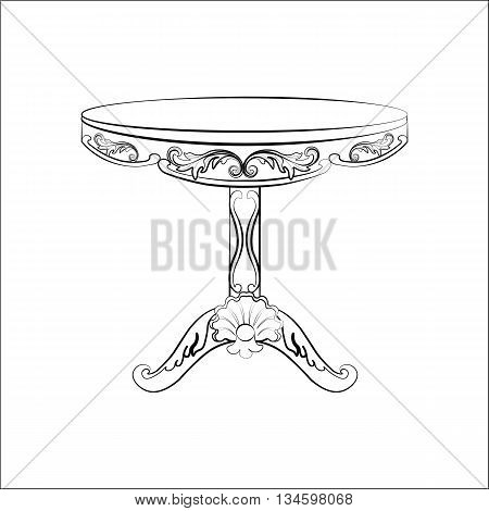 Elegant imperial classic round table in rococo style with luxurious ornaments. Vector