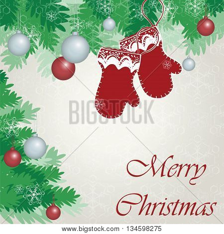 Merry Christmas greeting card with gloves and baubles. Vector