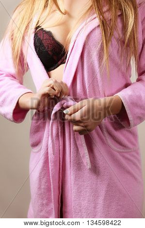 Woman Wearing Black Lingerie And Bathrobe