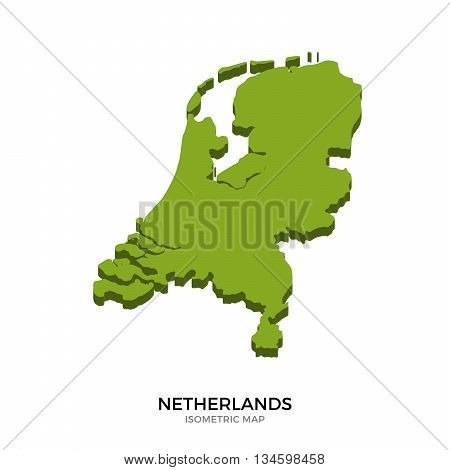 Isometric map of Netherlands detailed vector illustration. Isolated 3D isometric country concept for infographic