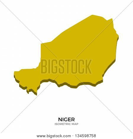 Isometric map of Niger detailed vector illustration. Isolated 3D isometric country concept for infographic