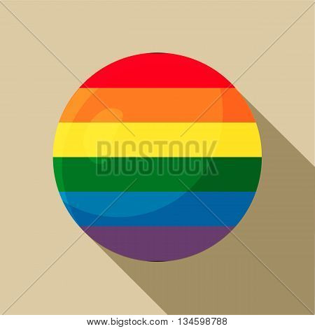 Rainbow ball icon in flat style on a beige background