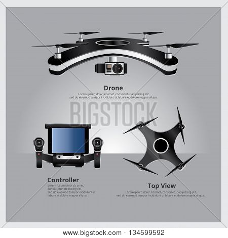 Drone Front and Top View with controller and camera Vector Illustration