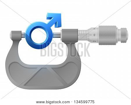 Horizontal micrometer measures male symbol. Concept of man sign and measuring tool. Vector illustration about man biology and health, male psychology (father, son), sex differences, gender role, etc