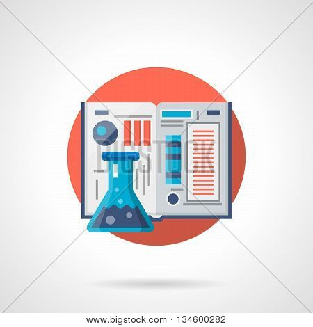 School chemistry textbook with color images and schemes and blue flask. Education, research and school experiments, web tutorials. Round flat color style vector icon. Web design element