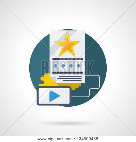 Video and films on mobile devices. Smart phone and movie poster or trailer with yellow star and film strip. Cinema modern technology. Round flat color style vector icon. Web design element
