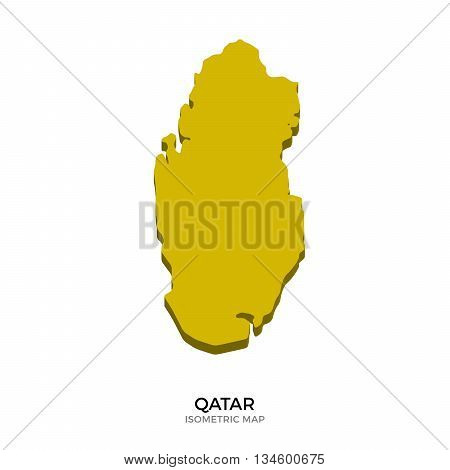 Isometric map of Qatar detailed vector illustration. Isolated 3D isometric country concept for infographic