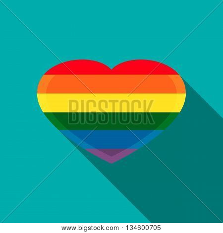 Rainbow heart icon in flat style on a turquoise background