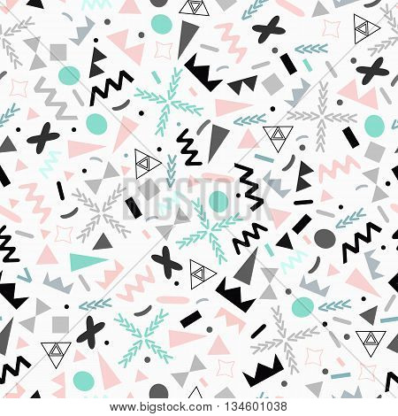 Seamless pattern of geometric shapes in retro style. Design 80-ies style Memphis-vector illustration. The bauhaus style in pastel colours.