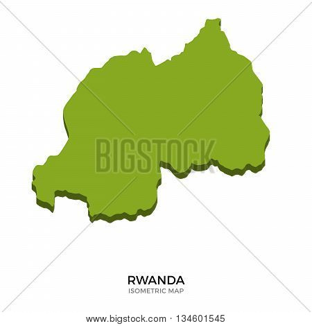 Isometric map of Rwanda detailed vector illustration. Isolated 3D isometric country concept for infographic