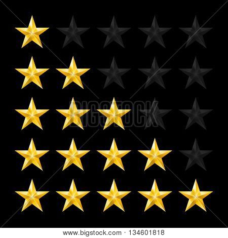 Simple Stars Rating. Gold Shapes on Black