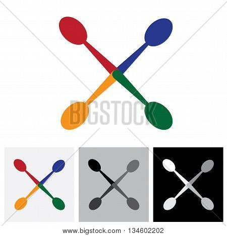 Abstract Colorful Arrangement Of Spoons - Vector Logo Icon