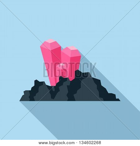 Explosion on the mountain mine icon in flat style on a light blue background