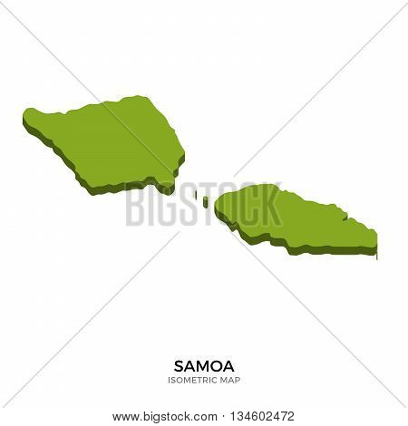 Isometric map of Samoa detailed vector illustration. Isolated 3D isometric country concept for infographic
