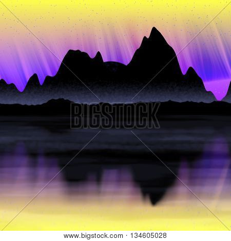 Northern light panorama of mountain in night illustration