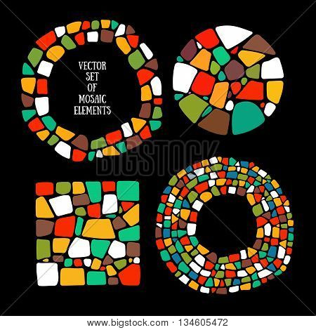 Collection of Mosaic design elements. Mosaic textures.