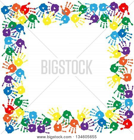The frame of a colorful hand prints