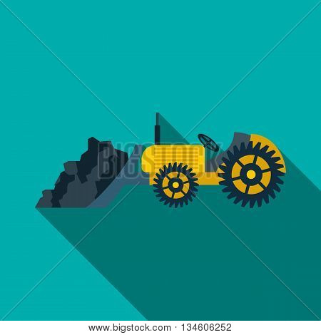Bulldozer loading coal icon in flat style on a turquoise background