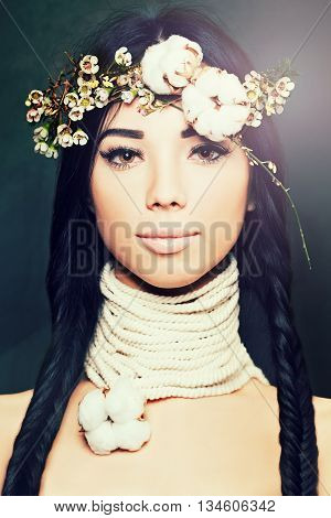Fashion brunette woman with beautiful makeup and hair tender night concept