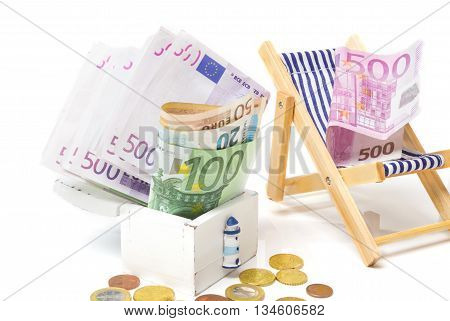 Holiday bonuses vacation fund on a white background