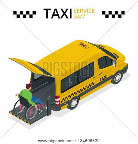 Minibus for physically disabled people. Taxi or car for man on wheelchair. Vehicle with a lift. Flat 3d vector isometric illustration
