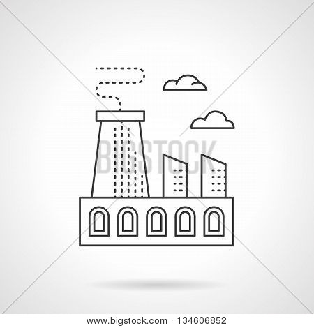 Metal processing plant. Industrial buildings, factories and plants. Heavy industry structure with chimneys. Flat line style vector icon.