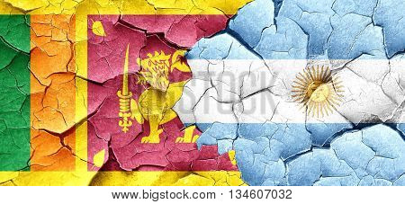 Sri lanka flag with Argentine flag on a grunge cracked wall