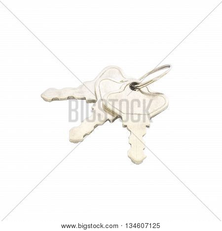 Closeup house key metal key isolated on white background