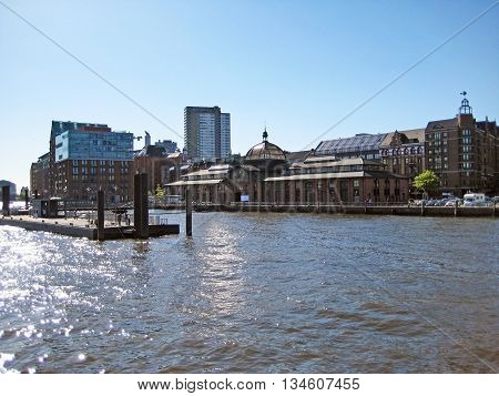 Hamburg Germany - May 22 2008: Fischmarkt / fish auction hall - where fish is traded in Hamburg. Riverside view from Elbe.