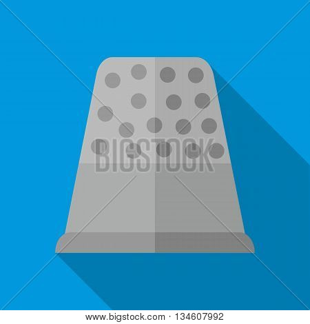Steel thimble icon in flat style on a blue background