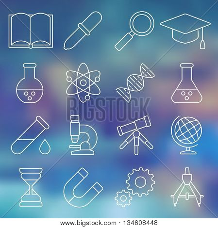 Vector illustration. Line icon set. Scientific tools, equipment in simple design. Education in chemistry, physics, astronomy. Tools for laboratory research