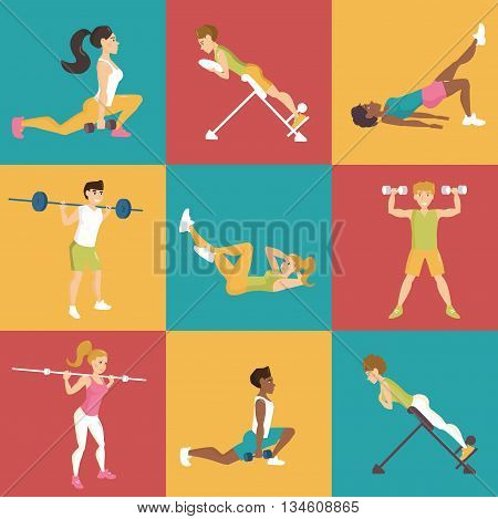 Set with people involved in sports. Simulators. Dumbbells, barbell, hyperextension. Vector isolated illustration. Cartoon characters