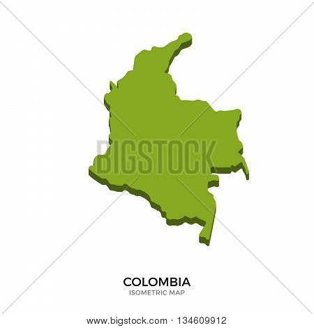 Isometric map of Colombia detailed vector illustration. Isolated 3D isometric country concept for infographic