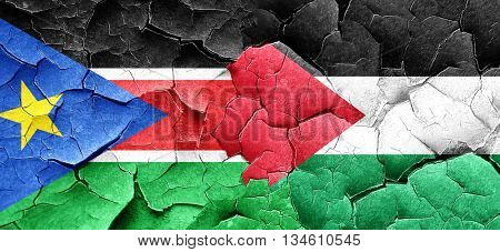 south sudan flag with Palestine flag on a grunge cracked wall
